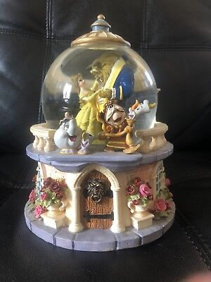 Disney's BEAUTY AND THE BEAST Musical Snow Globe Rare Retired Rose Garden