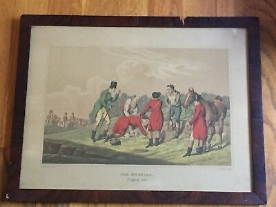 Antique H Alken Fox Hunting Digging Out Equestrian Hunt Horse Colored Engraving
