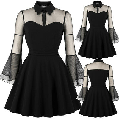 UK Womens 1950s 60s Mesh Vintage Style Ladies Evening Prom Swing Dress Plus Size