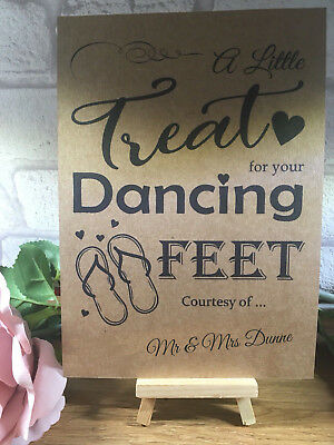 667f608b4 Personalised Dancing Feet Wedding Table Sign Rustic Kraft Card Flip Flop  Shoes