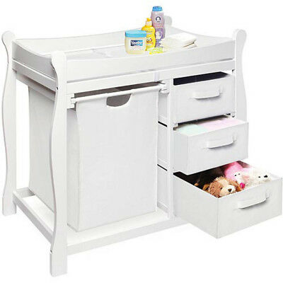 Changing Table with Hamper Baskets, White, Diaper Station, FREE SHIP BRAND NEW