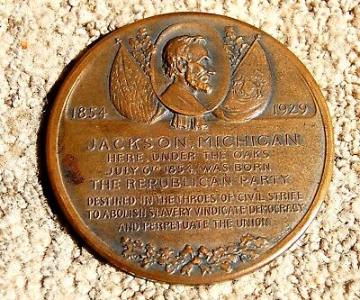 "1929 Centennial Republican Party Birthplace Medal 3"" 2 Sided. Jackson Mi. Bronze"