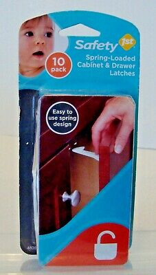 Safety 1st Spring-Loaded Cabinet & Drawer Latches 10 Pack New & Sealed-G11