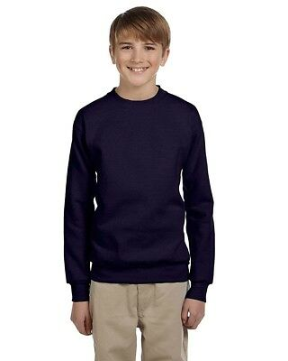 (Large, Navy) - Hanes Youth ComfortBlend Long Sleeve Fleece Crew - p360