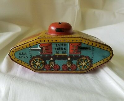 Vintage Tin Litho Army Tank Bank Made in U.S.A. has original tires