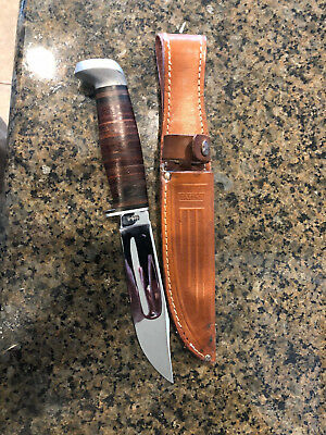 VINTAGE CASE XX Knife Fixed Blade HUNTING 325-5 USA - with sheath. Great shape!
