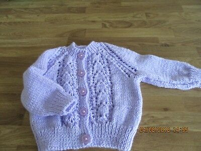 new hand knitted lilac lace baby cardigan 3/ 6 months machine washable