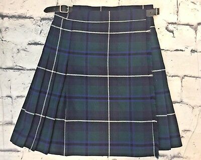 Tartan By Strathmore Childs Size 6 100% Wool Green Plaid Scottish Kilt