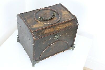 Ornate Antique Vintage Wooden Box Clamshell Feet Patina Sewing Box