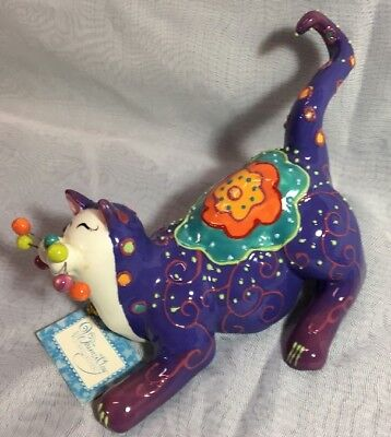 NWT Whimsiclay by Amy Lacombe Meowzette #86171 2005 RETIRED FREE SHIPPING