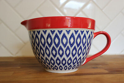 Mixing Bowl with Pouring Spout Ikat Diamond Design Colorful Red White Blue