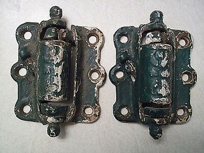 Antique Pair  Victorian Cast Iron Spring Loaded Door Hinges
