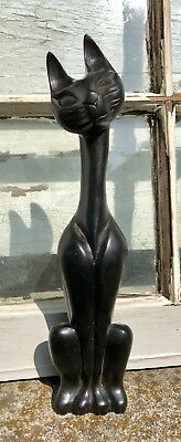 Vintage Mid Century Modern Wood Siamese Cat Hand Carved Figure Old Town Chicago!