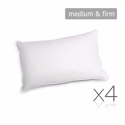 Family 4 Pack Bed Pillows Medium Firm Cotton Cover 48X73CM Brand New #HT