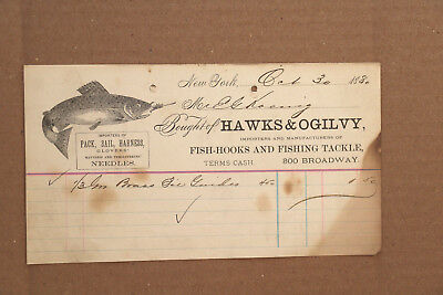 1880 Billhead from Hawks & Ogilvy, Importers and Manufacturers of Fishing Tackle