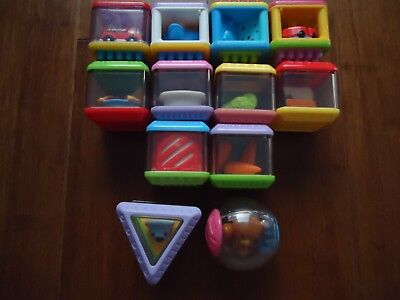 Lot 12 Fisher Price Peek A Boo Blocks Roll Around Ball. Triangle Food, Tactile