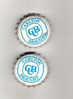 2  Carlton United Brewery Bottle Caps Draught