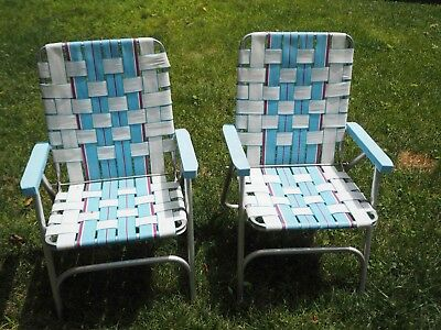 Vintage PAIR Aluminum Folding Webbed Lawn Chair BLUE WHITE Plastic Arms : webbed lawn chairs - lorbestier.org