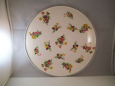 Vintage K Japan Cake Serving Plate Flowers Chintz Ceramic Pottery