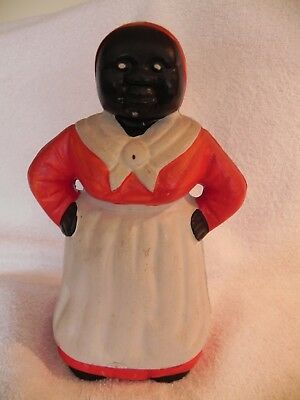 "Cast Iron Bank Vintage Black Americana Aunt Jemima  7 1/2"" Tall Red White Maid"