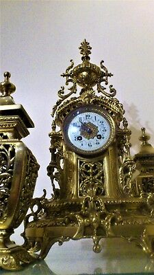LARGE ANTIQUE FRENCH BRASS MANTEL CLOCK GARNITURE by S.MARTI.
