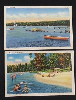 "Curteich Linen Beach & Inland Lake Scenes 1940's Lot Of 2 5.5"" x 3.5"""