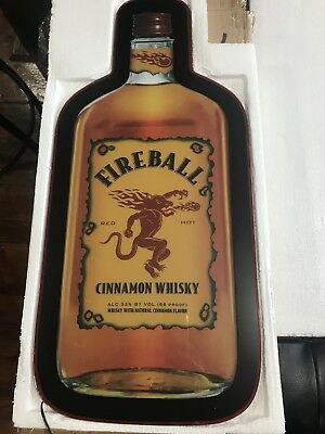 "New 24"" Fireball Whiskey Lighted LED Bar Pub Man Cave Sign Liquor Display"