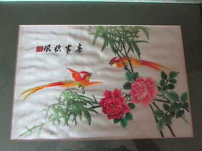 Vintage Chinese / Japanese Signed Silk Picture Hand Embroidered Birds & Flowers