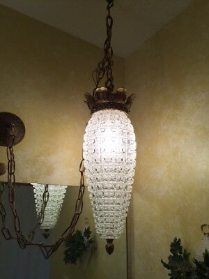 Vintage mid century clear cut glass swag lamps Set of 2/ FREE SHIPPING