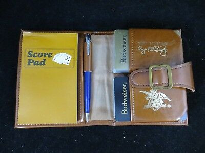 Anheuser Bush Cards Budweiser 1973 Sales Convention Double Deck  Leather Case