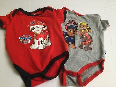 Baby Boy Infant 3 6 Months Lot Of 2 Jumpsuits Paw Patrol Gray Red Bodysuits Dogs