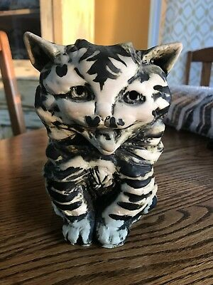 Black and White Cat Hand-Made Coin Money Bank. Chelsea Pottery, Made in England.