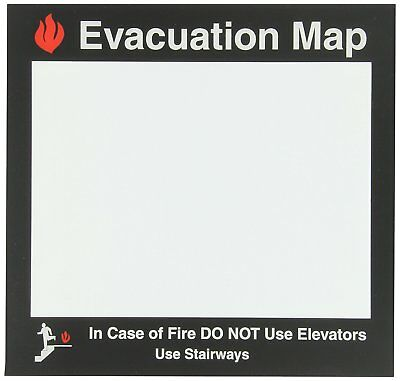"Brady 102850 11.5"" W x 11"" H Black and Red on Clear Evacuation Map Holder"