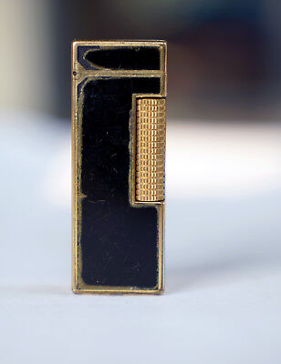Vintage  Black Lacquer Dunhill Rollagas Lighter, Gold Plated