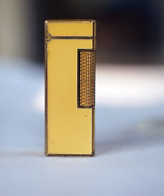 Vintage Yellow Lacquer Dunhill Rollagas Lighter, Gold Plated