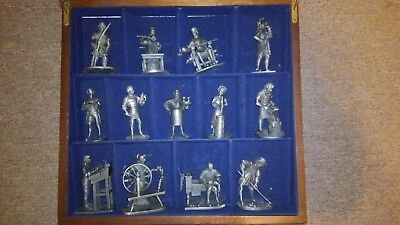 """Rare Franklin Mint Fine Pewter """"People of Colonial America"""" 13 Piece Set 1974 75"""