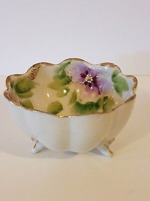 Vintage Nippon Small Hand Painted Footed Bowl - Pansy Flowers