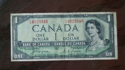 Canada 1 Dollar 1954 Devil Face Bank Note Coyne / Tower