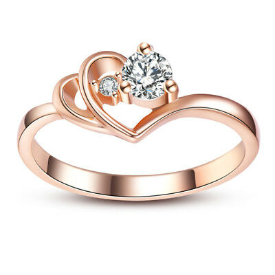 Romantic Rose Gold Filled Women Wedding Rings Round Cut White Sapphire Size 6-10