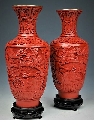Very Rare Vintage Chinese Pair Of Cinnabar Hand Carved Vases 20Th Century