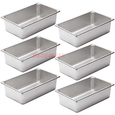 """6SET Full Size Silver Stainless Steel Steam Table 6"""" Deep Spillage / Water Pan"""