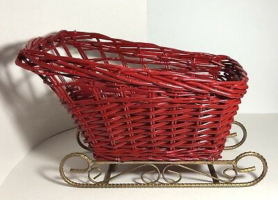 """Large 15.5"""" Red Wicker Sleigh Holiday Christmas Sled"""