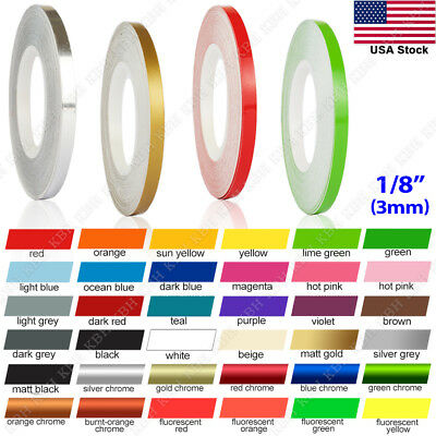 "1/8"" Roll Vinyl Pinstriping Pin Stripe Solid Line Car Tape Decal Stickers 3mm"
