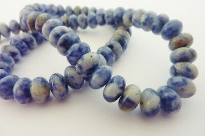 50 pce Natural Blue Spot Stone Abacus Gemstone Beads 8mm x 5mm Jewellery Making