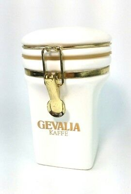 """Gevalia Kaffe Cermanic Canister with Rubber Seal, 7 1/4"""" WHITE coffee"""