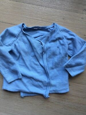 Pure Baby Baby Unisex Blue Organic Cotton Cashmere Cardigan Size 00 3-6 Months