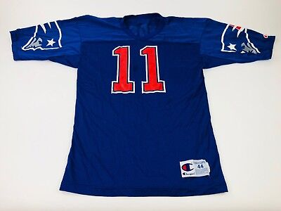 b468d956 New England Patriots Drew Bledsoe #11 Wilson Blue NFL Football Jersey Mens  Large