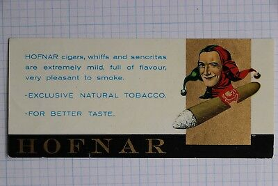 Hofnar Cigar tobacco flavor advertising label seal Jester joker mascot gold ink