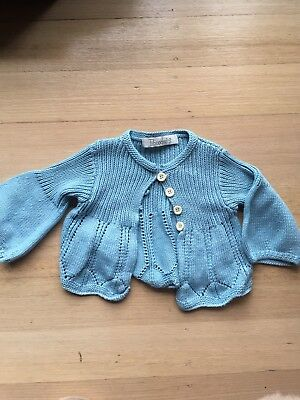 Girls Baby Tiboodoo's knitted cotton Blue cardigan Buttons Size 12-18 Months EUC