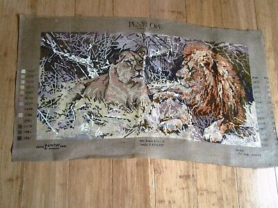 Uncompleted Tapestry Of A Lion & Lioness 75Cms Wide X 38Ms High No Threads